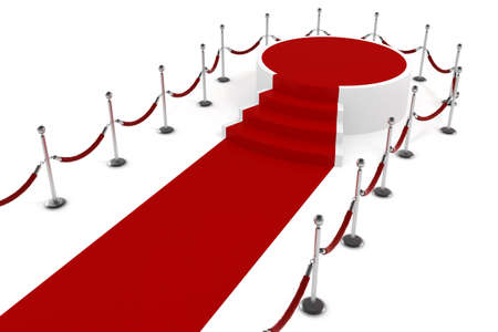 fame: 3d red carppet and podium on white background Stock Photo