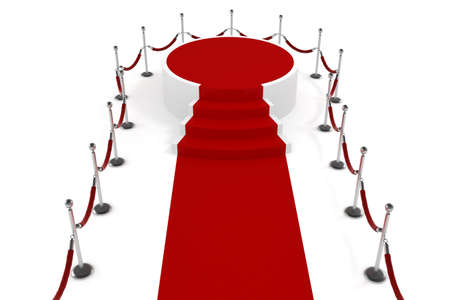 3d red carppet and podium on white background photo