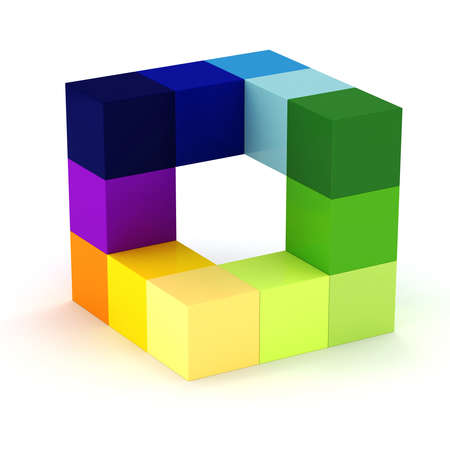 building blocks business: 3d abstract cube design  on white background Stock Photo