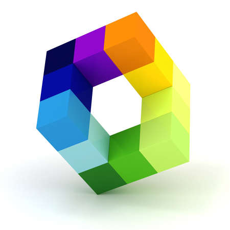 connection block: 3d abstract cube design  on white background Stock Photo