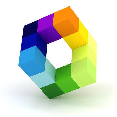 3d abstracte kubus ontwerp op een witte achtergrond