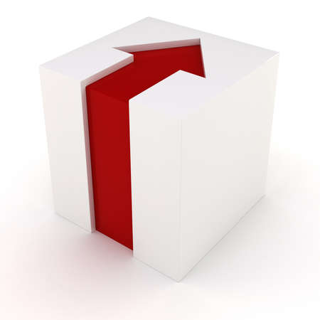 red arrow: 3d white cube with red arrow Stock Photo