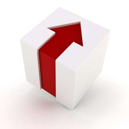 red cube: 3d white cube with red arrow Stock Photo