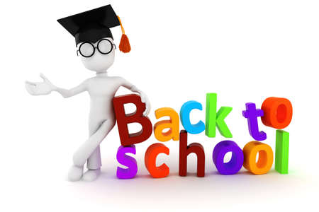 3d man and  back to school  text on white background photo
