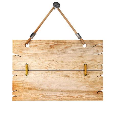 letreros: 3d tablero de la muestra de madera en blanco