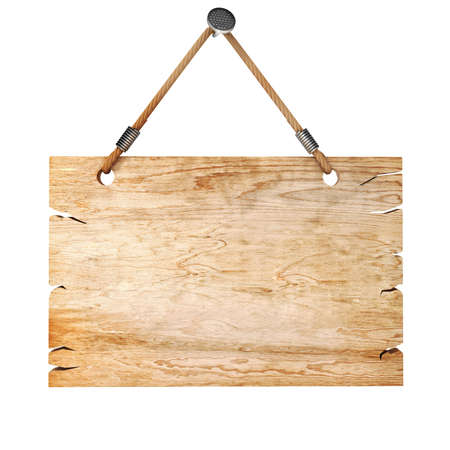 hanging sign: 3d blank wooden sign board