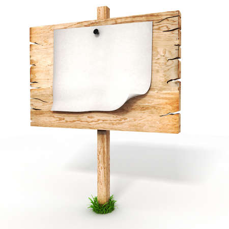 3d blank wooden sign board Stock Photo - 21150129