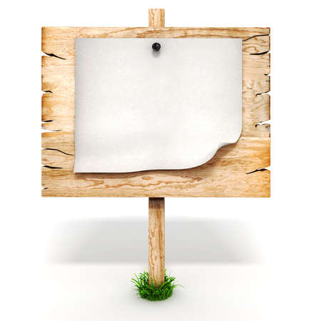 3d blank wooden sign board photo