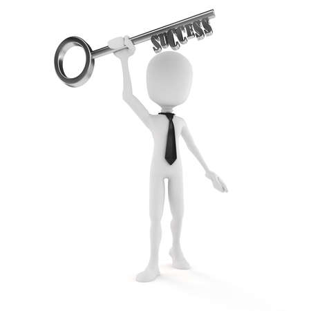 3d man businessman holding the key to success photo