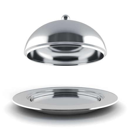 3D Silber Restaurant Glocke auf weißem Hintergrund Lizenzfreie Bilder