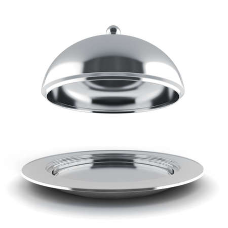 serving tray: 3d silver restaurant cloche on white background