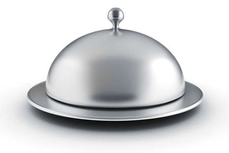 3d silver restaurant cloche on white background photo