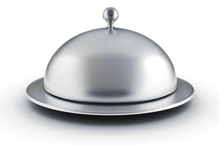 cloche: 3d silver restaurant cloche on white background