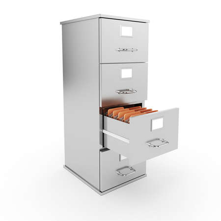 protected database: 3d file cabinet on white background