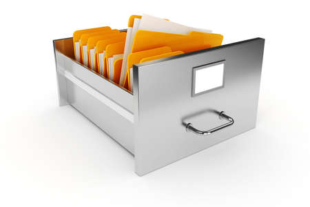 filing documents: 3d file cabinet on white background