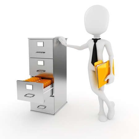 3d man business man and file cabinet photo