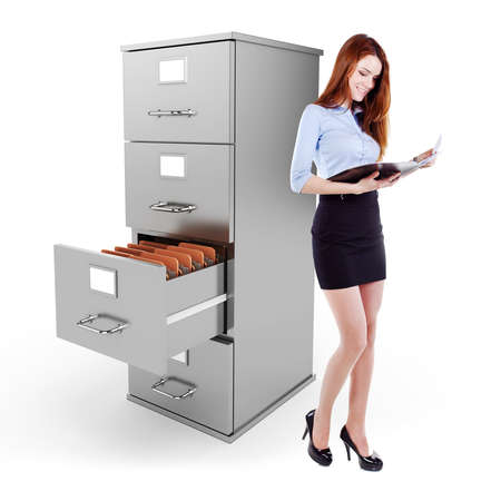 business womanholding a file standing near a 3d file cabinet, on white background photo