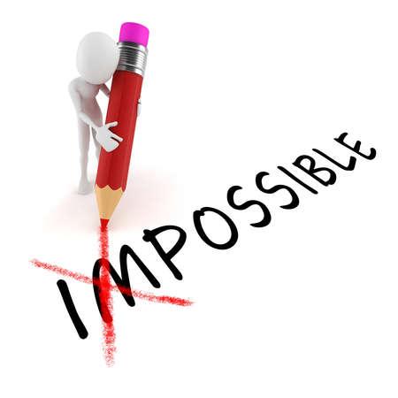 3D Mann mit Bleistift, optimistische Haltung, auf weißem Hintergrund