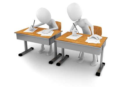academic achievement: 3d man in classroom, exam test