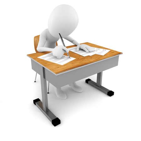 Homme 3D en salle de classe, examen test Banque d'images - 21690552