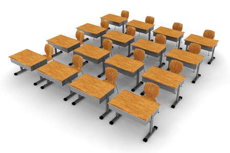 cadeira: Sala de aula 3d no fundo branco Banco de Imagens