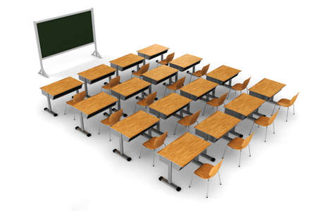 3d classroom on white background photo