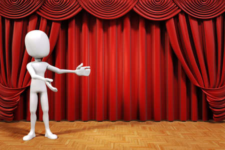 theater auditorium: 3d man on stage