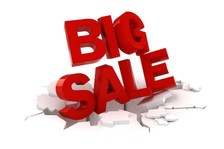 3d big sale text on white background photo
