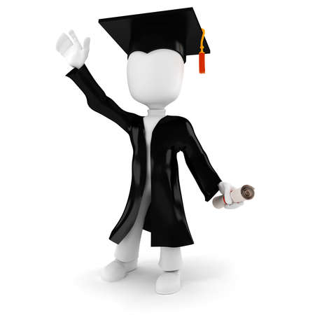 3d man student graduation photo