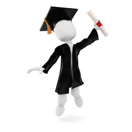 certificate icon: 3d man student graduation