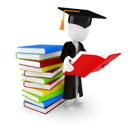 uomo rosso: Uomo 3D studente e libro su sfondo bianco