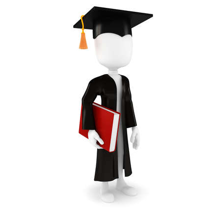 graduation cartoon: 3d man student and book on white background