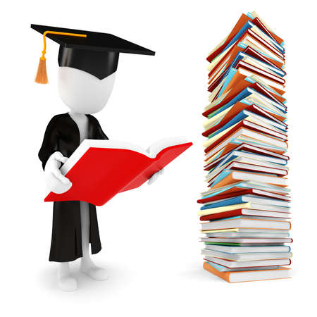 abstract academic: 3d man student and books on white