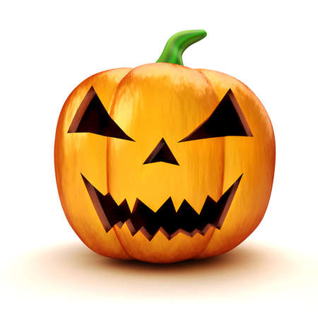 3d halloween pumpkin on white background photo