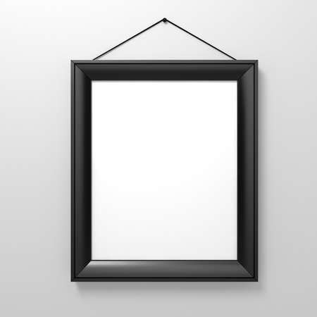 blank frame on white wall photo