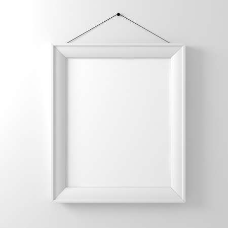 template frame: blank frame on white wall