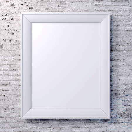 white picture frame: blank frame on vintage wall Stock Photo