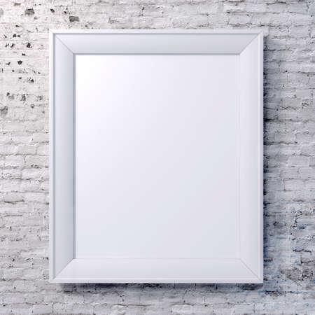 marco blanco y negro: marco en blanco en la pared de la vendimia Foto de archivo