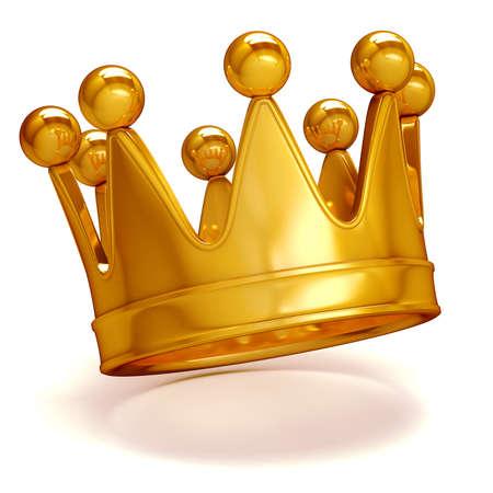 corona real: 3d corona de oro sobre fondo blanco