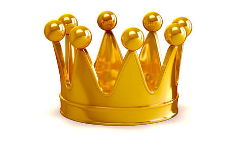 royal rich style: 3d golden crown on white background