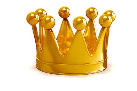 3d goldene Krone auf weißem Hintergrund