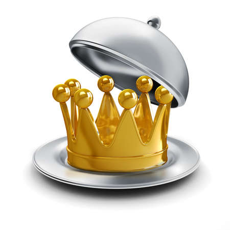 luxuriance: 3d golden crown on silver plate Stock Photo