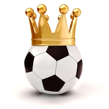 3d football and golden crown photo