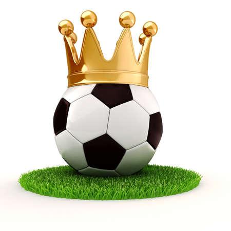 3d voetbal en gouden kroon Stockfoto