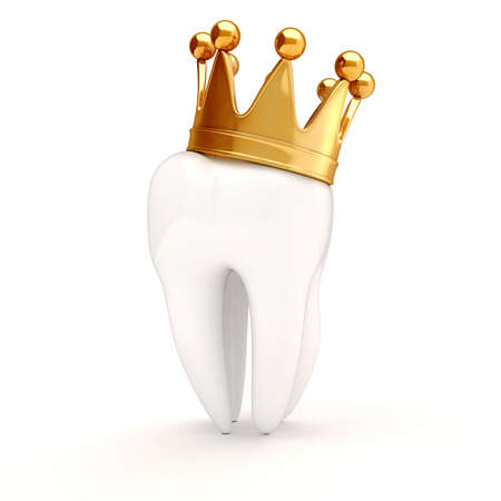 3d white tooth with gold grown on top