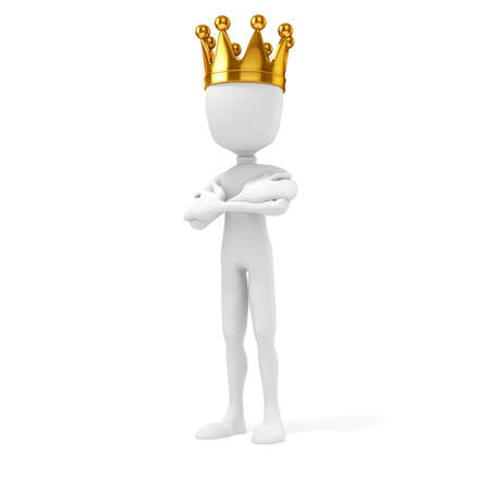proud: 3d man king with a gold crown on white background