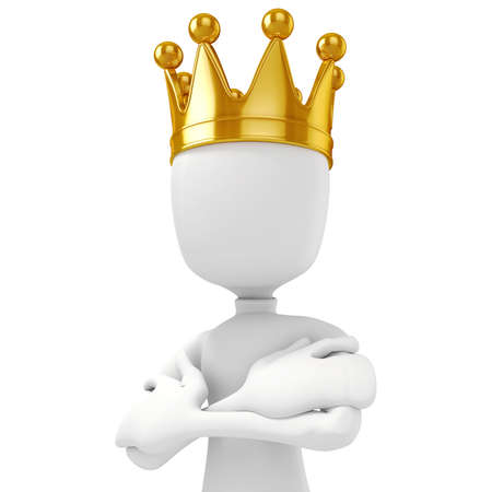 3d man king with a gold crown on white background photo