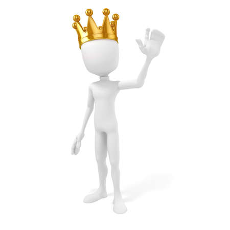 the majesty: 3d man king with a gold crown on white background