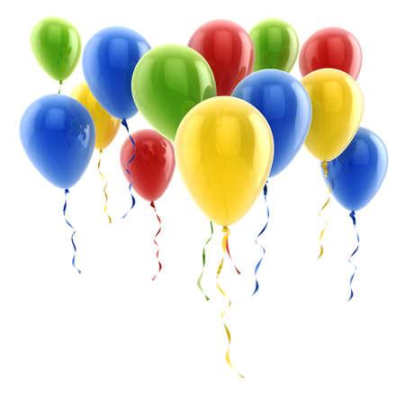 verjaardag ballonen: 3d kleurrijke ballonnen Stockfoto