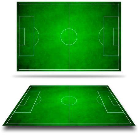 football match lawns: 3d image of green soccer field, football